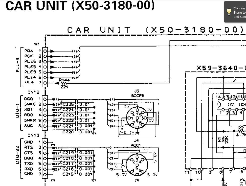 help please connection ts 950sdx with sm 230 scope 8 pin din x five-pin din connector now turn to page 214 which lists the terminal functions of the connectors look under the carrier unit heading for cn12 this will list the terminal numbers